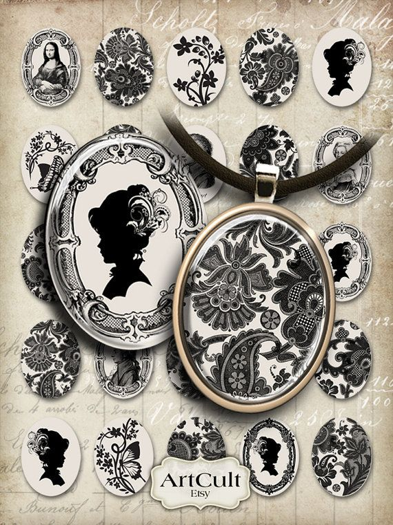 CHARMING CHARMS - Oval 30x40 mm Images Digital Collage Sheet Printable jpg Download for pendants bezels magnets vintage ephemera images