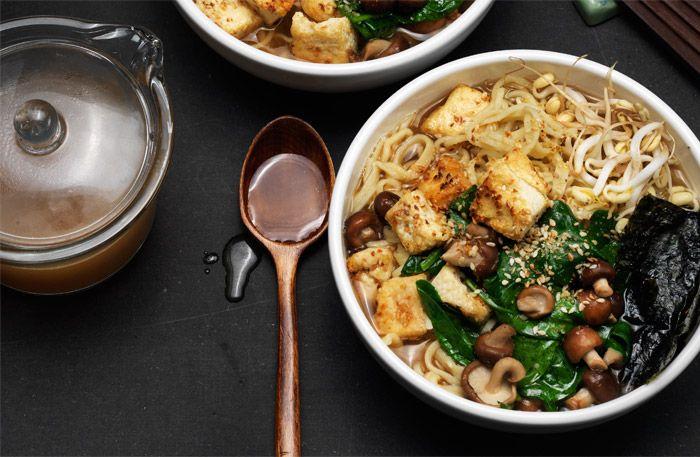 Crispy tofu ramen – japanska nudlar med friterad tofu