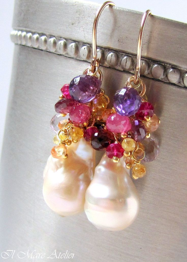Baroque pearls topped with Amethyst, Ruby, Sapphire and Garnet gemstones