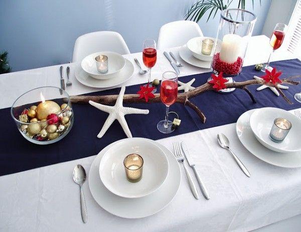 Tischdekoration See-Nautische Motive-Seestern Weiß Tischdecke