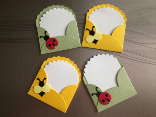 Lady Bug Bumble Bee Note Card and Envelope Die Cuts | eBay