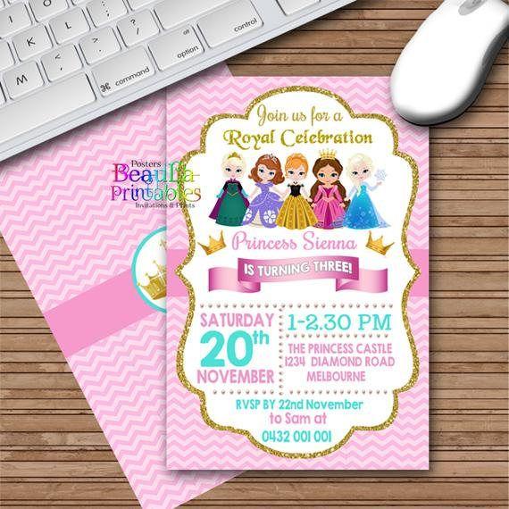 Princess Birthday Party Invitation Princess Birthday