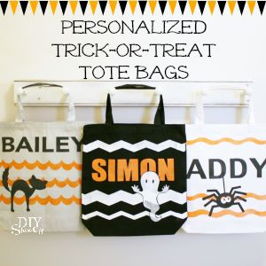 Personalized Trick-or-Treat bags tutorial using FrogTape Shape Tape and Happy Crafters vinyl on canvas tote bags.