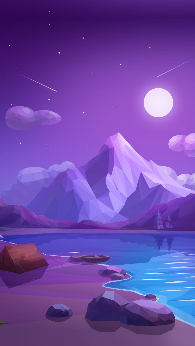 Low-poly landscape night                                                       …