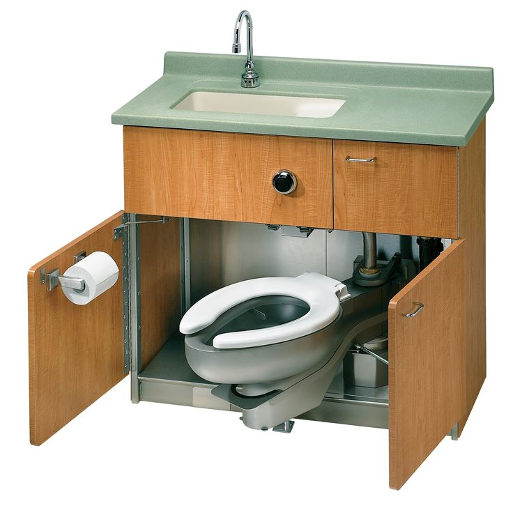 Bradley Combination Lavatory Water Closet Module with Swing Out Stainless Steel Toilet & Base.