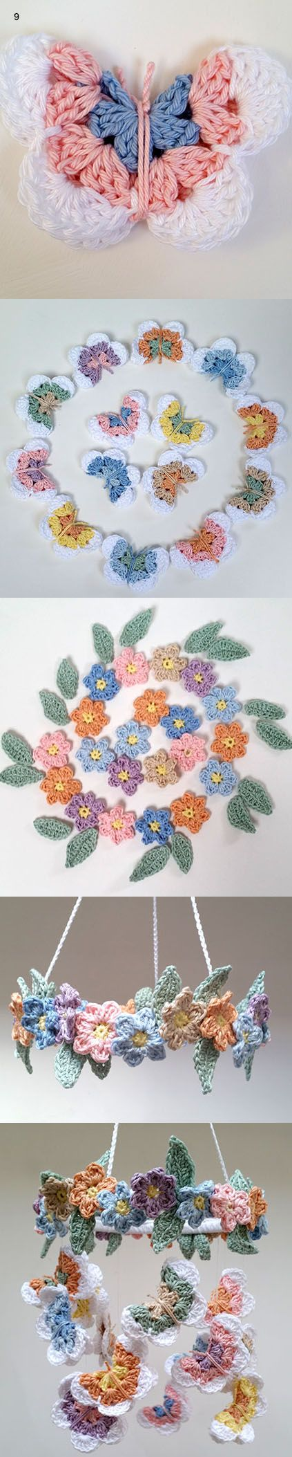 Make your own Crochet Butterfly & Flower Mobile with beautiful Planet Penny Pastel Cotton yarn.  Click to find the free PDF pattern on Planet Penny