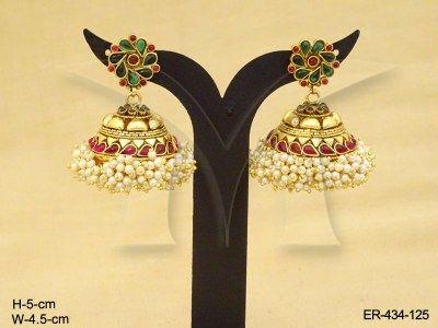 Flower Jhumki Antique Earrings