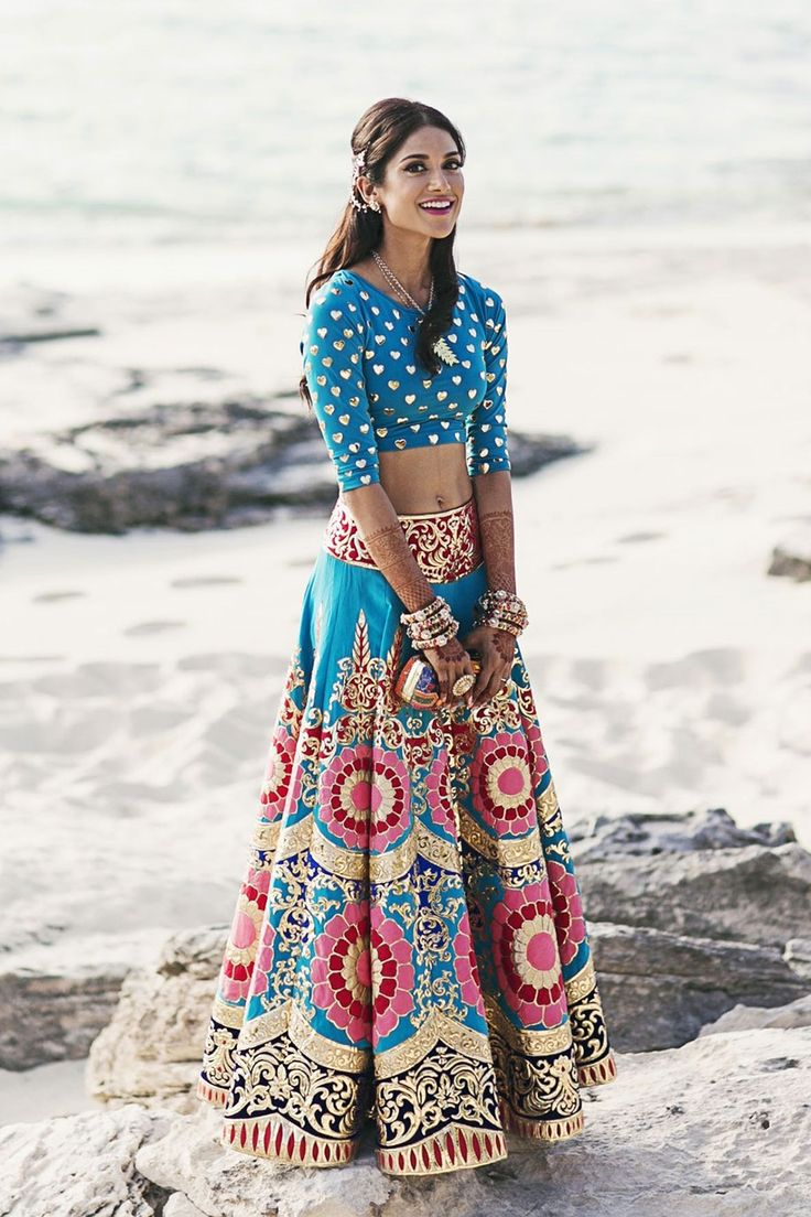 Bride Melanie in a pop-themed lehenga-choli by Manish Arora is a vision to behold!