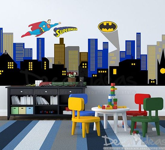 Superman Superhero wall decal sticker with batman emblem superhero flying character sticker , city skyline printed decal great for boys room , kids nursery decor
