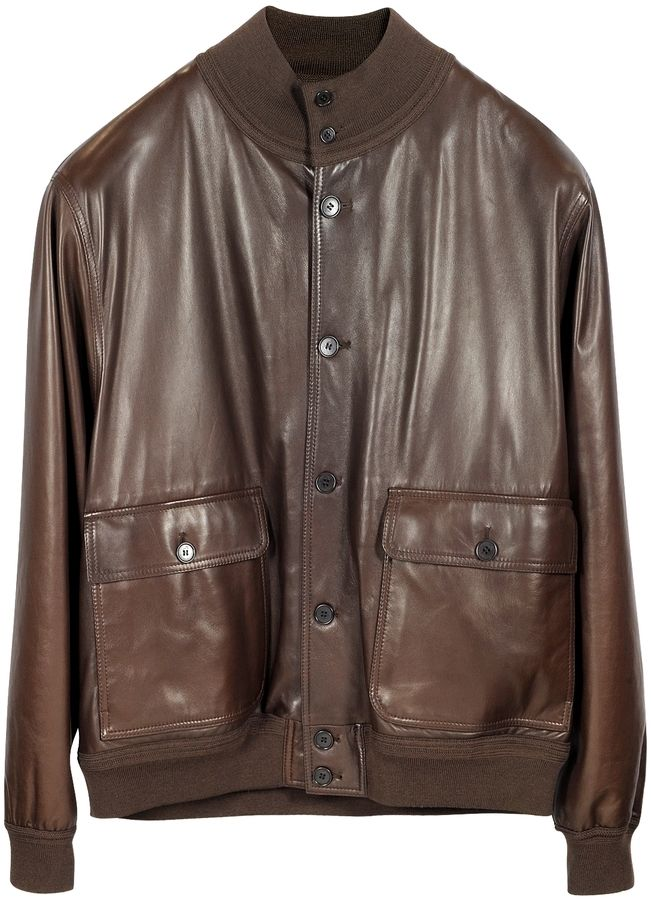 $2,295, Dark Brown Leather Bomber Jacket: Schiatti Co Dark Brown Leather Jacket Wchasmere Lining. Sold by Forzieri. Click for more info: https://lookastic.com/men/shop_items/293151/redirect