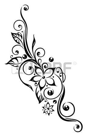 Black flowers illustration, tribal tattoo style photo