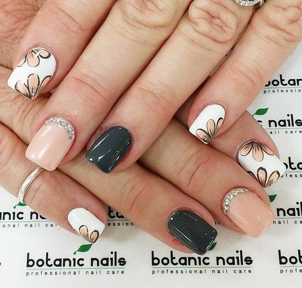 Dark gray, light pink and white nail polish color combination. This matte and floral nail polish design look perfect together; add embellishments of silver beads near the cuticle area for a more stunning effect.
