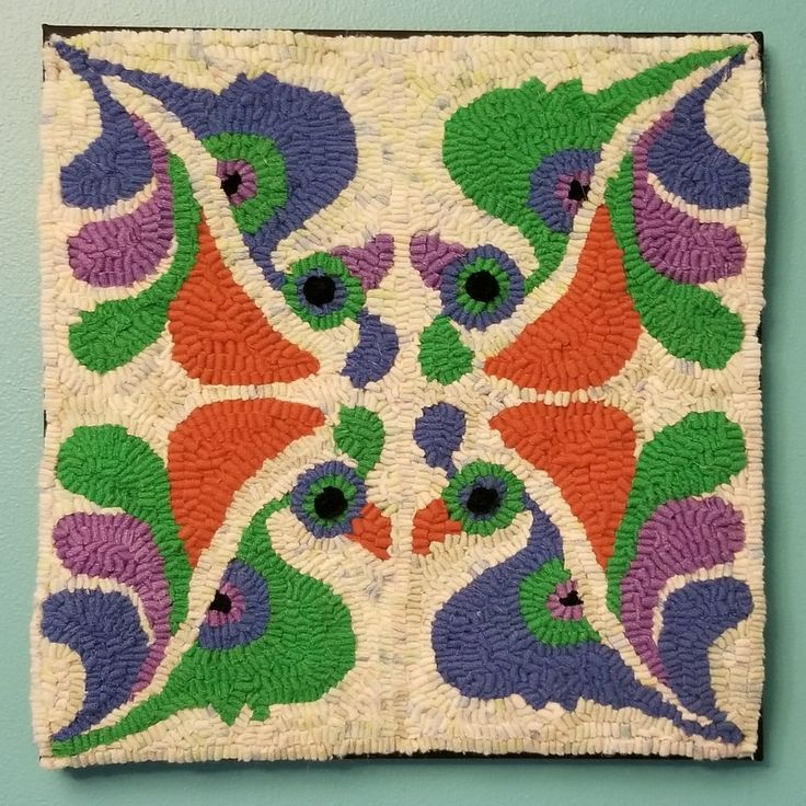 """""""Peacocks Rangoli-Style"""" hand hooked by Dominique Looye with wool, August 2017"""