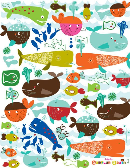 Lilla Rogers : Carolyn Gavin illustration of whales Variations on a theme
