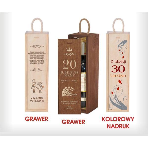 Skrzynka na wino z nadrukiem lub grawerem to oryginalny prezent urodzinowy