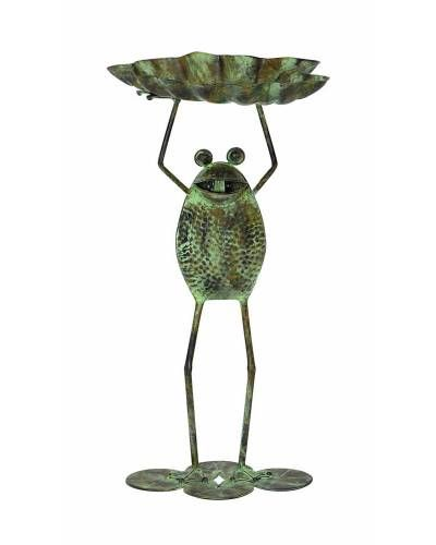 Rustic Green Metal Frog Bird Feeder Garden Decor -Give your garden settings a more appealing look with this Frog Rustic Metal Bird Feeder Garden Decor. Featuring a transitional design, this accessory can be incorporated in all kinds of settings. It sports a well crafted frog design that includes intricate styling, making it more noticeable in appeal.
