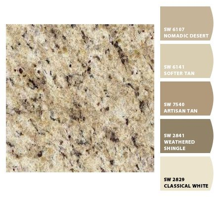 Image result for paint colors match gold brown granite tops