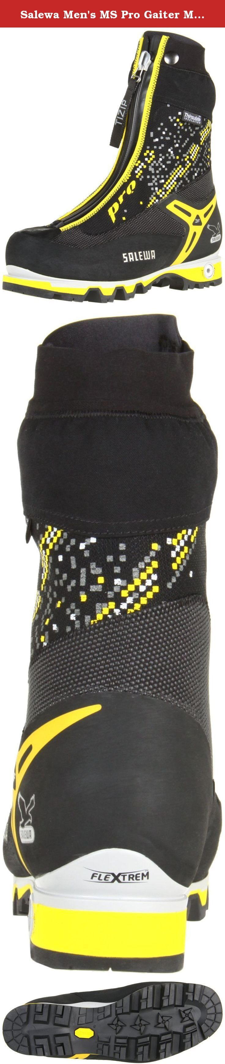 Salewa Men's MS Pro Gaiter M Mountaineering Boot, Black/Yellow, 11.5 M US. Adjustable midsole flexibility in two modes, walk or climb.