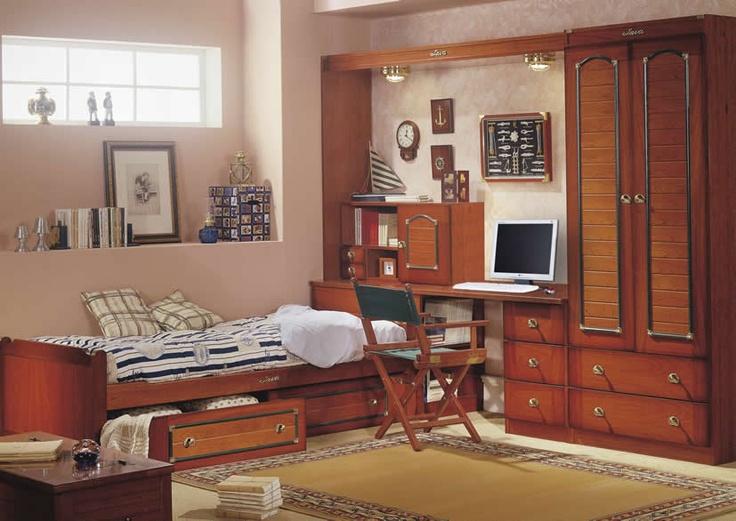 21 best dormitorios juveniles estilo barco java images on for Cama individual con cajones