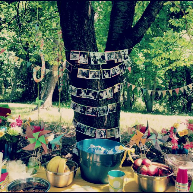 30th birthday picnic in the park. love the photos around the tree   (*****Pinwheels***)