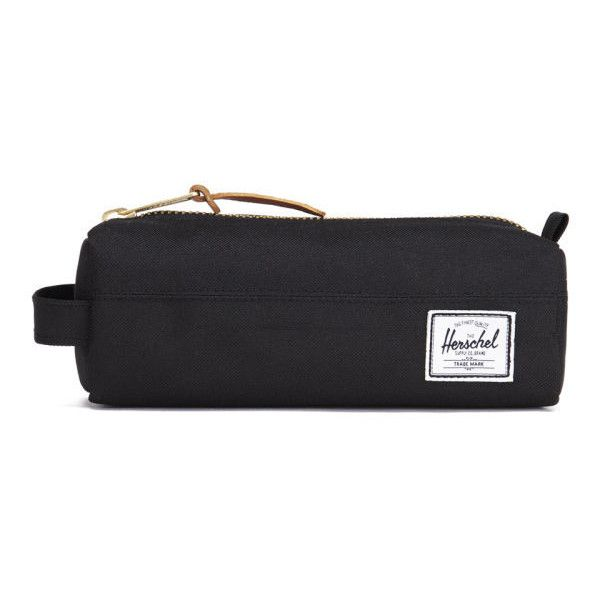 Herschel Supply Co. Settlement Pencil Case - Black (€31) ❤ liked on Polyvore featuring home, home decor, office accessories, bags, fillers, logo pens, zipper pencil pouch, colored pencil case, zipper pencil case and black colored pencils