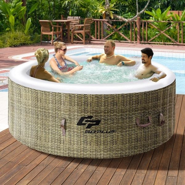Goplus 4 Person Inflatable Hot Tub Jets Portable Massage Spa White