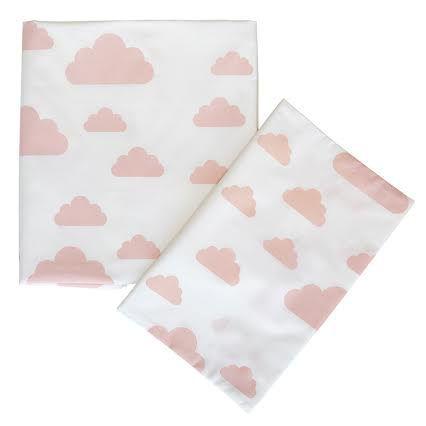 Bedding Set - Cloud | 100% Cotton Percale | Available: Standard Cot Size Duvet cover (incl pillowcase) | Single Bed Duvet cover (incl pillowcase) | Fitted Sheet | Fitted Sheet Size: 130 x 64 x 10 cm | Baby Duvet Size: 80 x 120 cm | Pillow Size: 30 x 40 cm | Colour: Dusty Pink / Grey