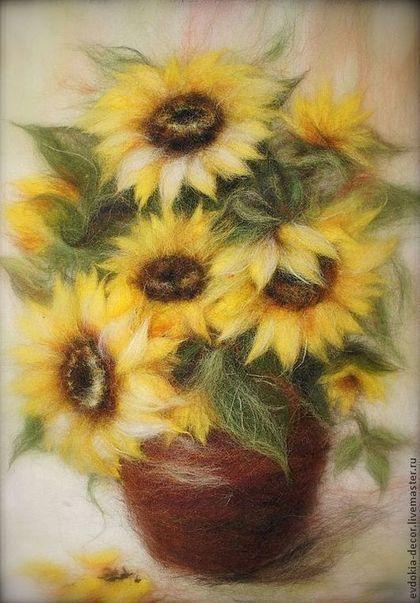 Картины цветов ручной работы. Ярмарка Мастеров - ручная работа Подсолнухи - картина из шерсти. Handmade.