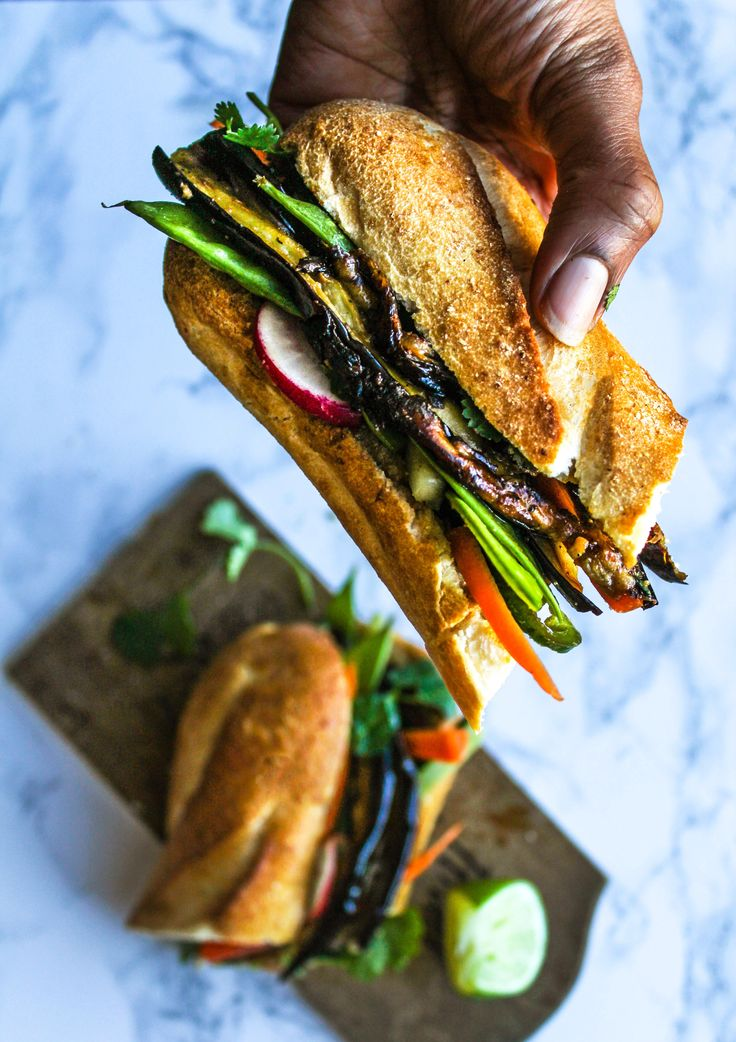 Roasted Eggplant Banh Mi by chocolateforbasil: A vegan version of a Vietnamese Banh Mi sandwich, stuffed with roasted and marinated eggplant and fresh crisp cut veggies. #Sandwich #Eggplant #Vietnamese