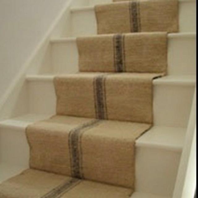 Superb Grain Sack Stair Runner  Or Replicate This Look In Burlap And Paint!