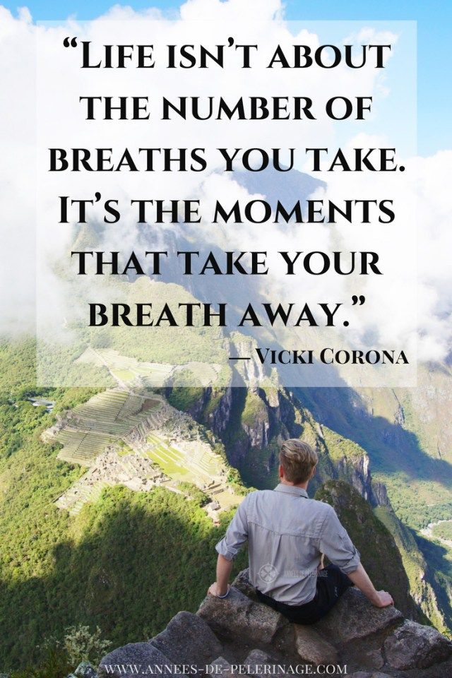Travel Quote by Vicki Corona: Life isn't about the number of Breaths you take. It's the moments that take your breath away.
