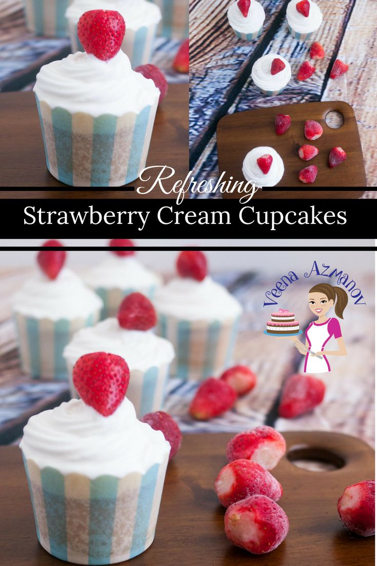 REFRESHING AND LIGHT STRAWBERRY CREAM CUPCAKES  These strawberry cream cupcakes are so refreshing and light because they are topped with some delicious fresh whipped cream rather than a heavy buttercream frosting and topped with a pretty strawberry for added flavor.