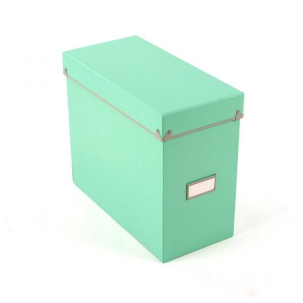 """Frisco File Box - Mint/Fog Dimensions: 13.4""""W x 6.4""""D x 11.6""""H Material: Paperboard / Metal Color: Mint/Fog Store Files Safely Includes a Lid and a Spot for attaching Labels"""