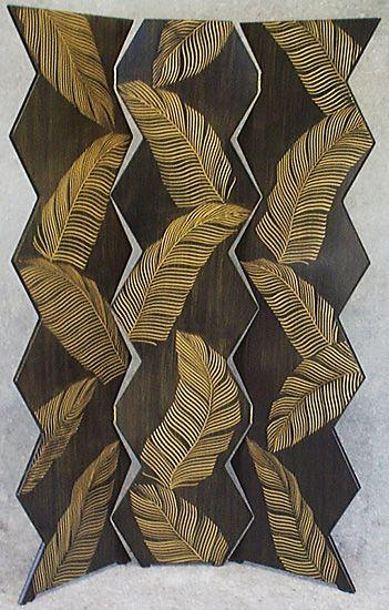 Palm Folding Screen: Daniel Grant and Ingela Noren: Wood Folding Screen