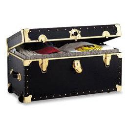 Black Rolling Footlocker with Tray #17college