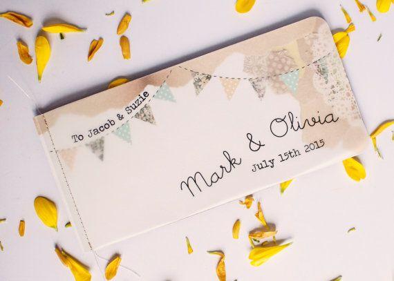 Bunting wedding invitation - stitched booklet - floral lemon mint rustic