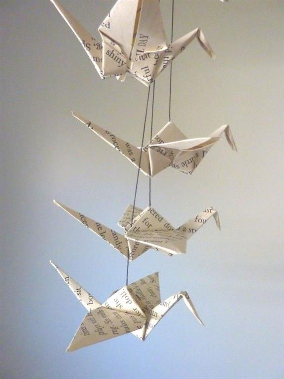 origami crane mobile from a repurposed children's book