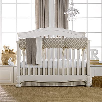 Check out our beautiful new Taupe Toscana Linens Crib Bedding Collection | Liz and Roo Fine Baby Bedding