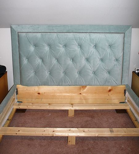 Upholstered Headboard & Bed Frame. Thinking white fabric with pewter details...
