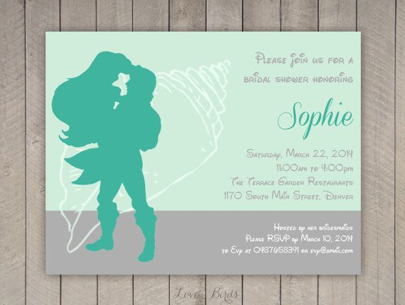 Bachelorette party / Bridal shower invitation Disney Little Mermaid Ariel - Digital file by SophiesLovebirds on Etsy