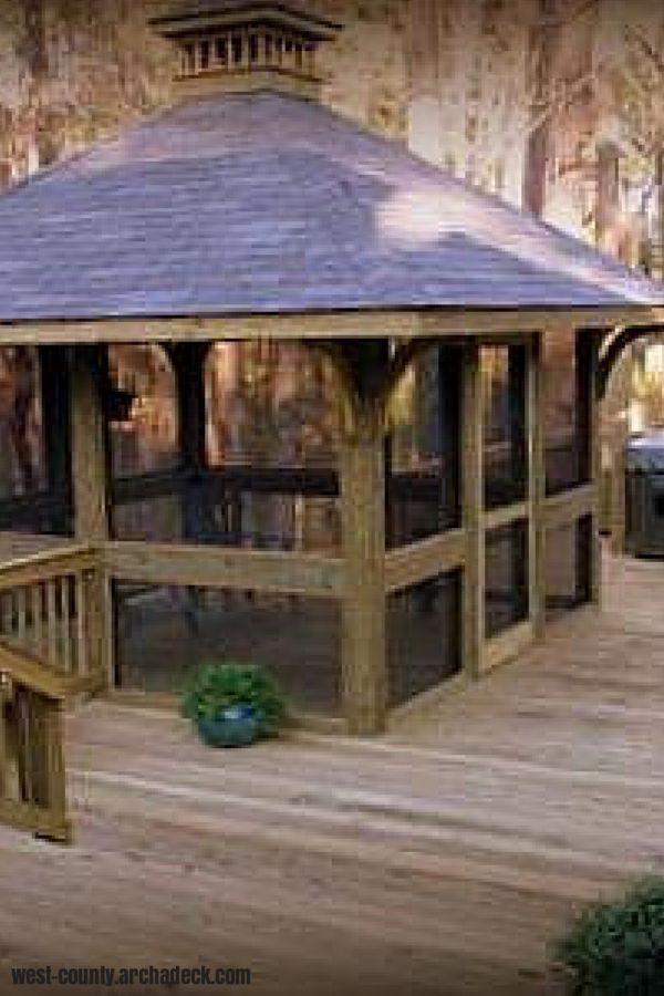 Wood deck with square screened gazebo and