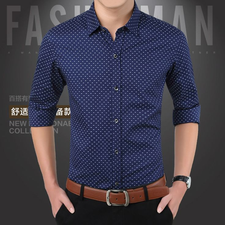 2015 New Arrival Autumn Brand Dress Men Shirt Long Sleeve Male Business Casual Shirt Polka Dot Shirts Men Fashion Formal Shirts