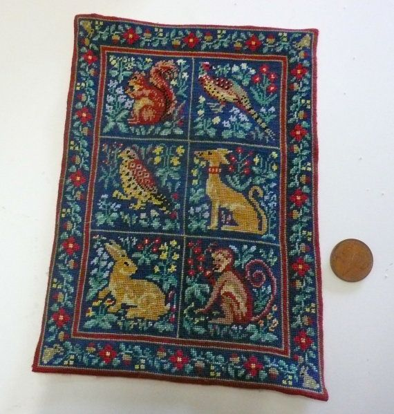 Miniature Carpet Embroidered Small Point On Silk By Miniricami