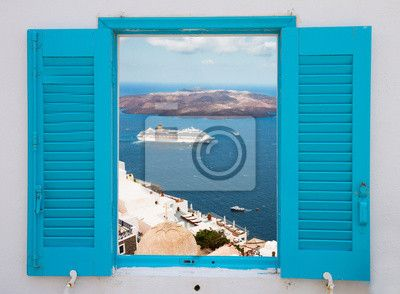 Wall Mural window with view of Santorini volcano
