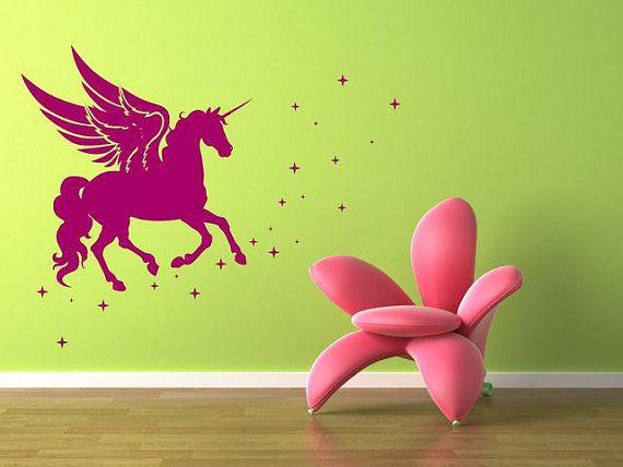 MUST HAVE!!!! <3    Wall Sticker Unicorn 3085n by artstickercouk on Etsy, £13.00