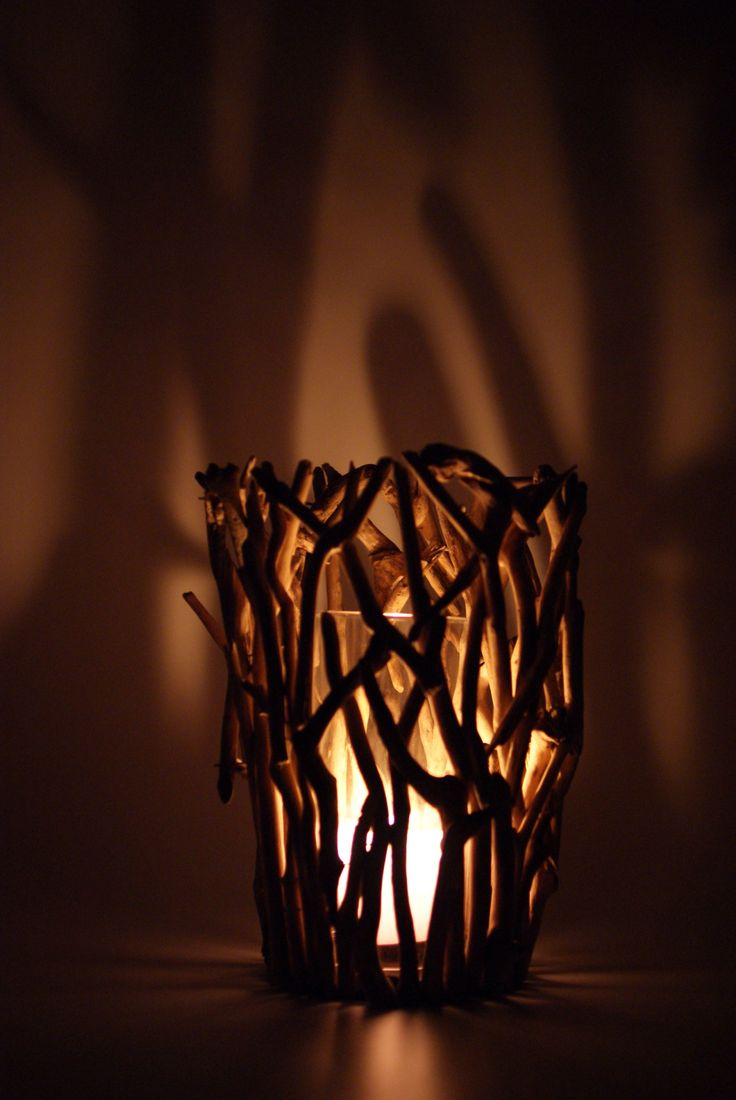 Creating an atmosphere with this driftwood lantern!