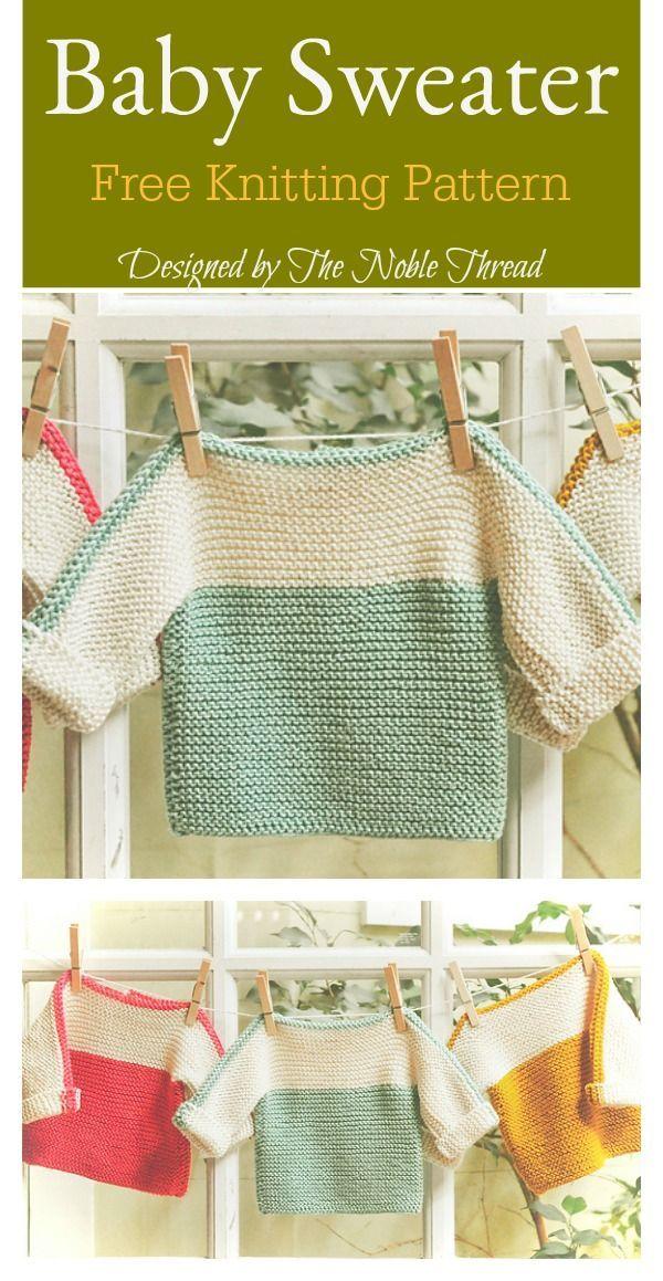 Französischer Makronen-Babypullover Free Knitting Pattern