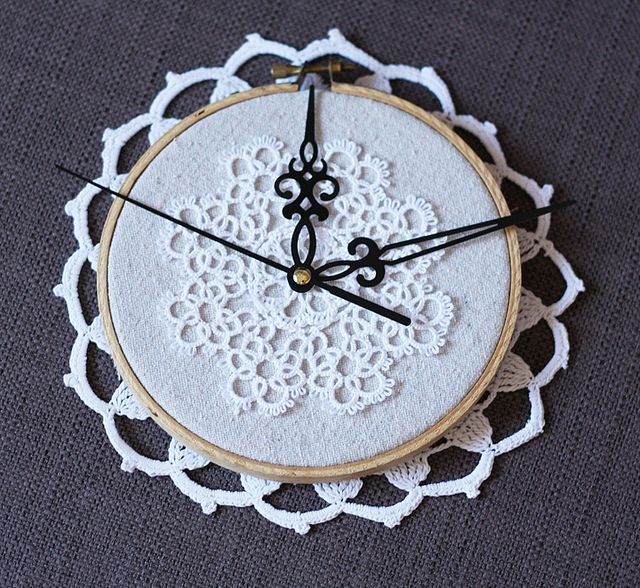 beautiful doily clock in embroidery hoop