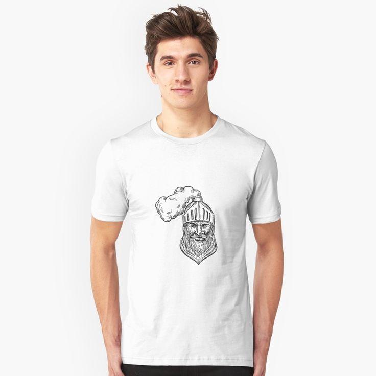 """Old Knight Head Drawing"" Unisex T-Shirt by patrimonio   Redbubble  #knight #warrior #tshirt"