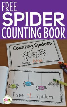 This free spider counting book is a great addition to your math center in preschool, pre-k, and kindergarten. Kids can write the numeral or the number word in the blank spaces in this fun freebie book. Great for your spider theme, October theme, or Halloween theme activity. Itsy Bitsy Spider, The Very Busy Spider